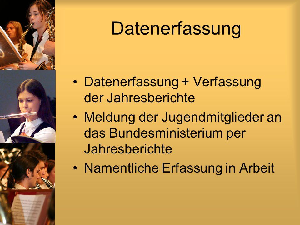 Datenerfassung Datenerfassung + Verfassung der Jahresberichte Meldung der Jugendmitglieder an das Bundesministerium per Jahresberichte Namentliche Erfassung in Arbeit