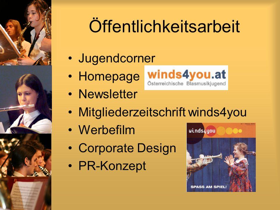 Öffentlichkeitsarbeit Jugendcorner Homepage Newsletter Mitgliederzeitschrift winds4you Werbefilm Corporate Design PR-Konzept