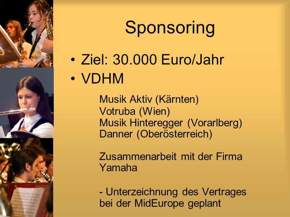 Sponsoring Ziel: 30.000 Euro/Jahr VDHM Musik Aktiv (Kärnten) Votruba (Wien) Musik Hinteregger (Vorarlberg) Danner (Oberösterreich) Zusammenarbeit mit der Firma Yamaha - Unterzeichnung des Vertrages bei der MidEurope geplant