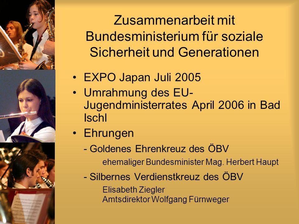 Zusammenarbeit mit Bundesministerium für soziale Sicherheit und Generationen EXPO Japan Juli 2005 Umrahmung des EU- Jugendministerrates April 2006 in Bad Ischl Ehrungen - Goldenes Ehrenkreuz des ÖBV ehemaliger Bundesminister Mag.