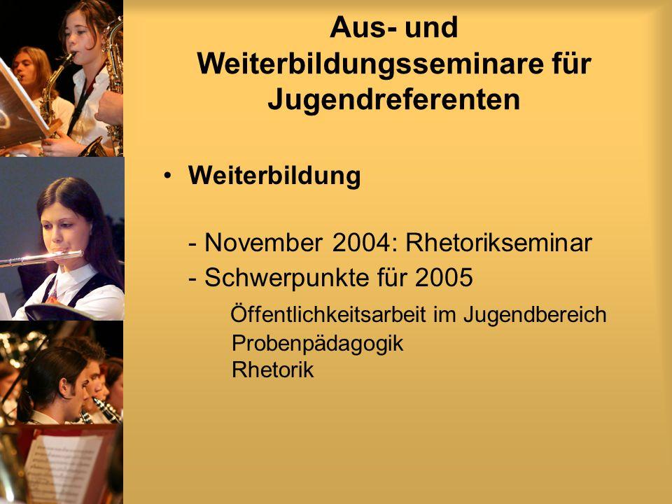 Aus- und Weiterbildungsseminare für Jugendreferenten Weiterbildung - November 2004: Rhetorikseminar - Schwerpunkte für 2005 Öffentlichkeitsarbeit im Jugendbereich Probenpädagogik Rhetorik