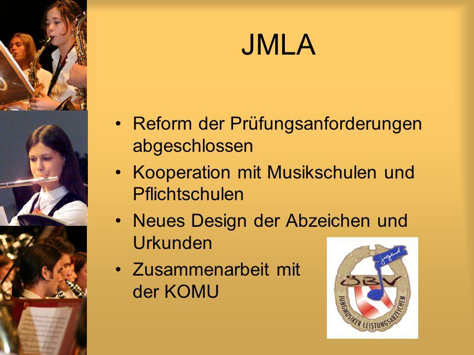 JMLA Reform der Prüfungsanforderungen abgeschlossen Kooperation mit Musikschulen und Pflichtschulen Neues Design der Abzeichen und Urkunden Zusammenarbeit mit der KOMU