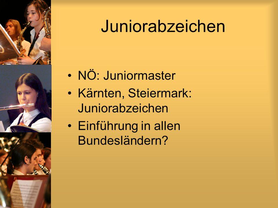 Juniorabzeichen NÖ: Juniormaster Kärnten, Steiermark: Juniorabzeichen Einführung in allen Bundesländern?