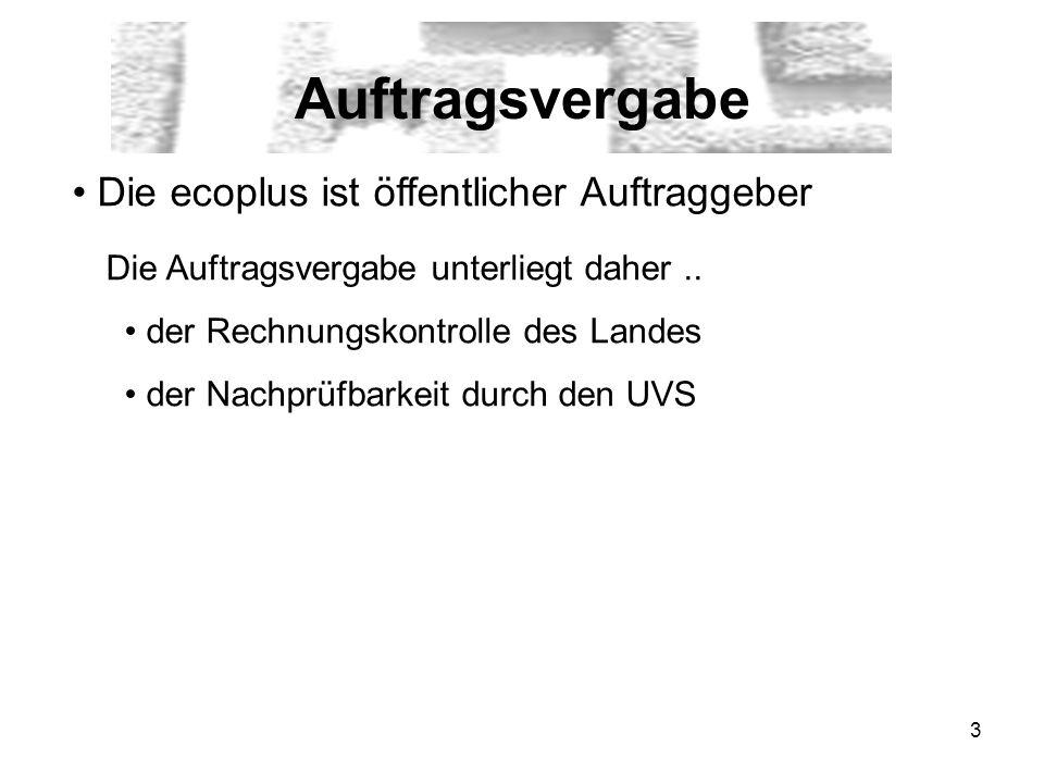 3 Auftragsvergabe Die ecoplus ist öffentlicher Auftraggeber Die Auftragsvergabe unterliegt daher..