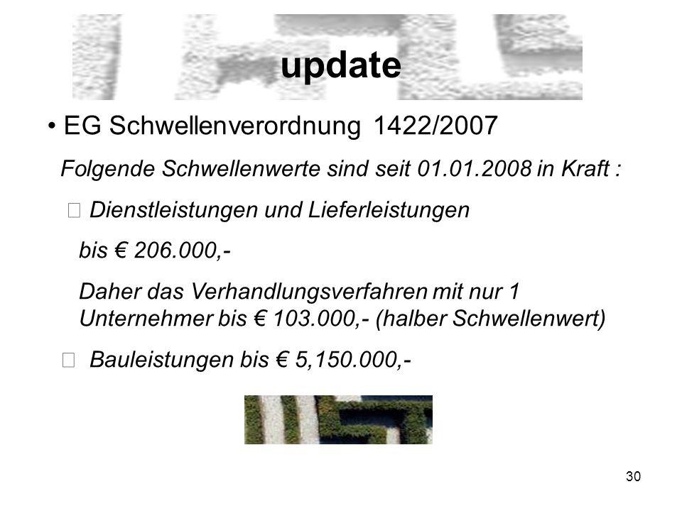 30 update EG Schwellenverordnung 1422/2007 Folgende Schwellenwerte sind seit 01.01.2008 in Kraft : Dienstleistungen und Lieferleistungen bis 206.000,-