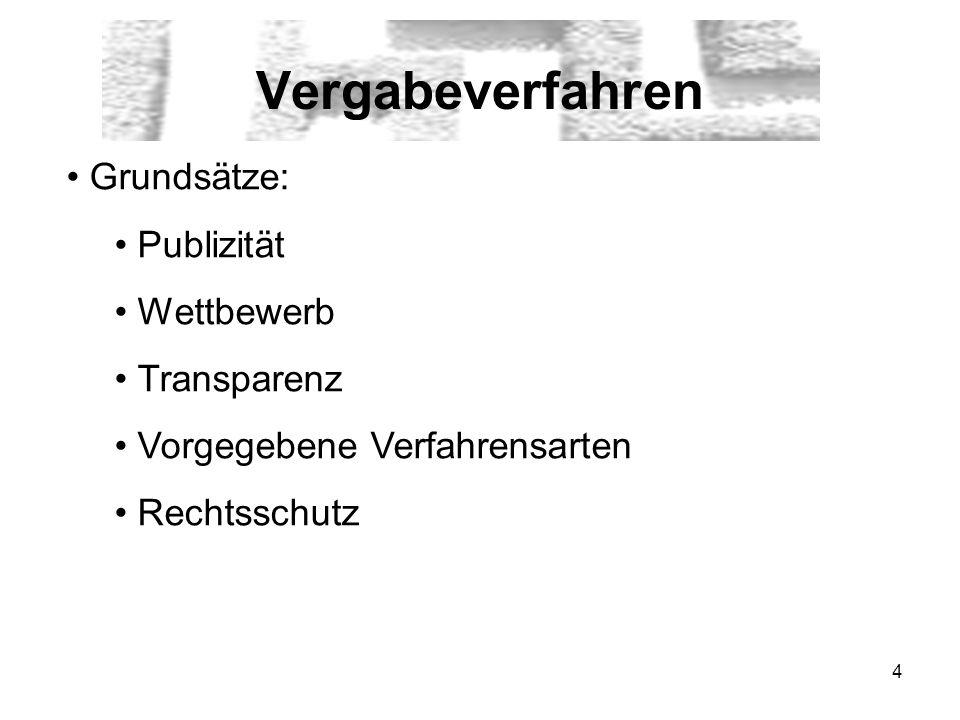 4 Vergabeverfahren Grundsätze: Publizität Wettbewerb Transparenz Vorgegebene Verfahrensarten Rechtsschutz