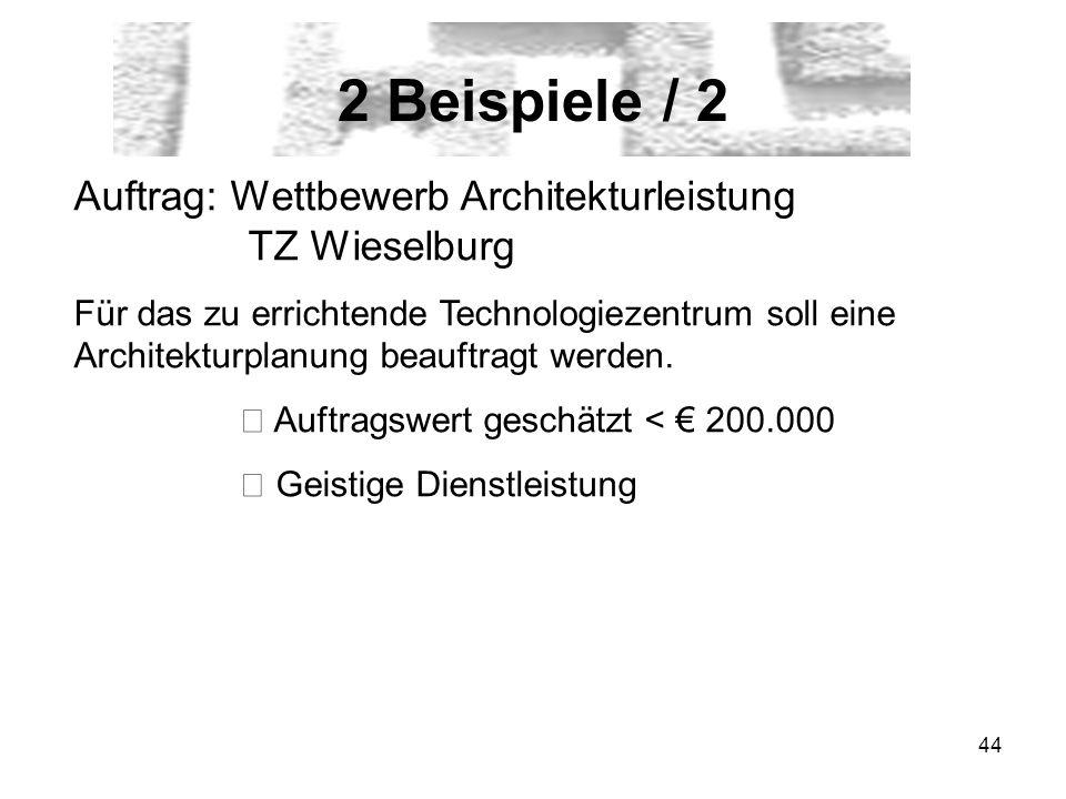 44 2 Beispiele / 2 Auftrag: Wettbewerb Architekturleistung TZ Wieselburg Für das zu errichtende Technologiezentrum soll eine Architekturplanung beauftragt werden.