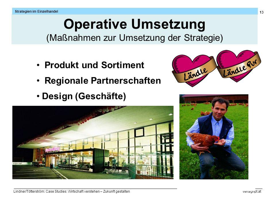 13 Strategien im Einzelhandel Lindner/Tötterström: Case Studies: Wirtschaft verstehen – Zukunft gestalten verlaghpt.at Produkt und Sortiment Regionale