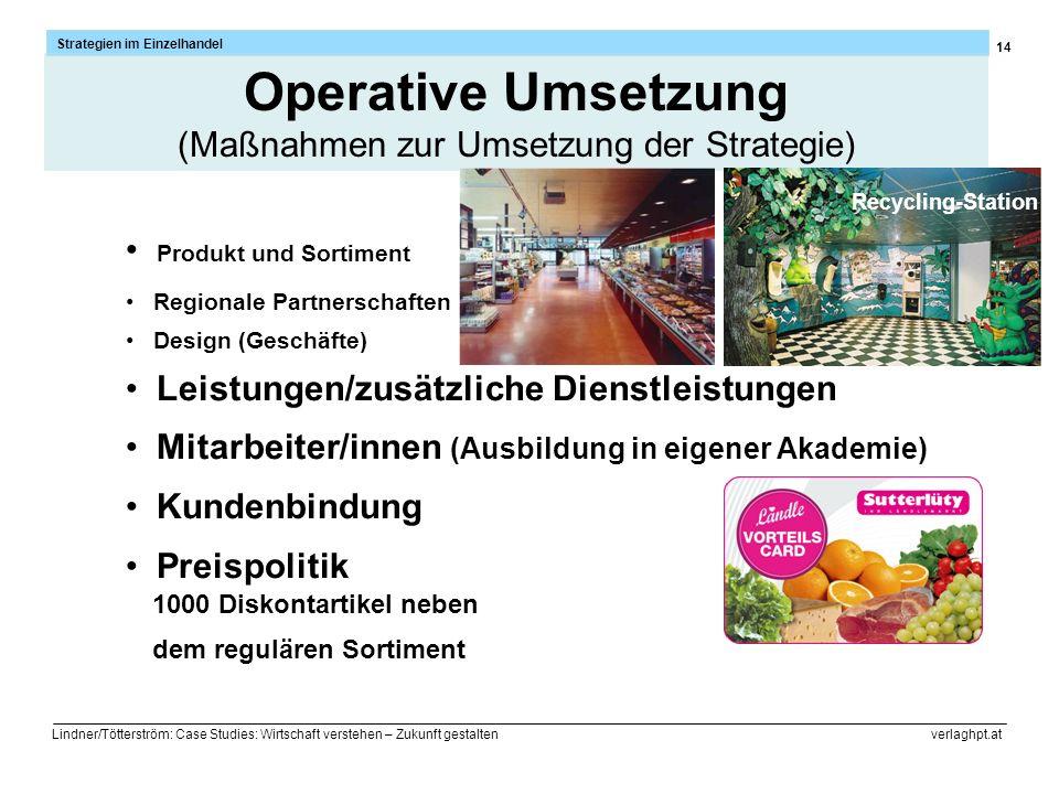 14 Strategien im Einzelhandel Lindner/Tötterström: Case Studies: Wirtschaft verstehen – Zukunft gestalten verlaghpt.at 1000 Diskontartikel neben dem r