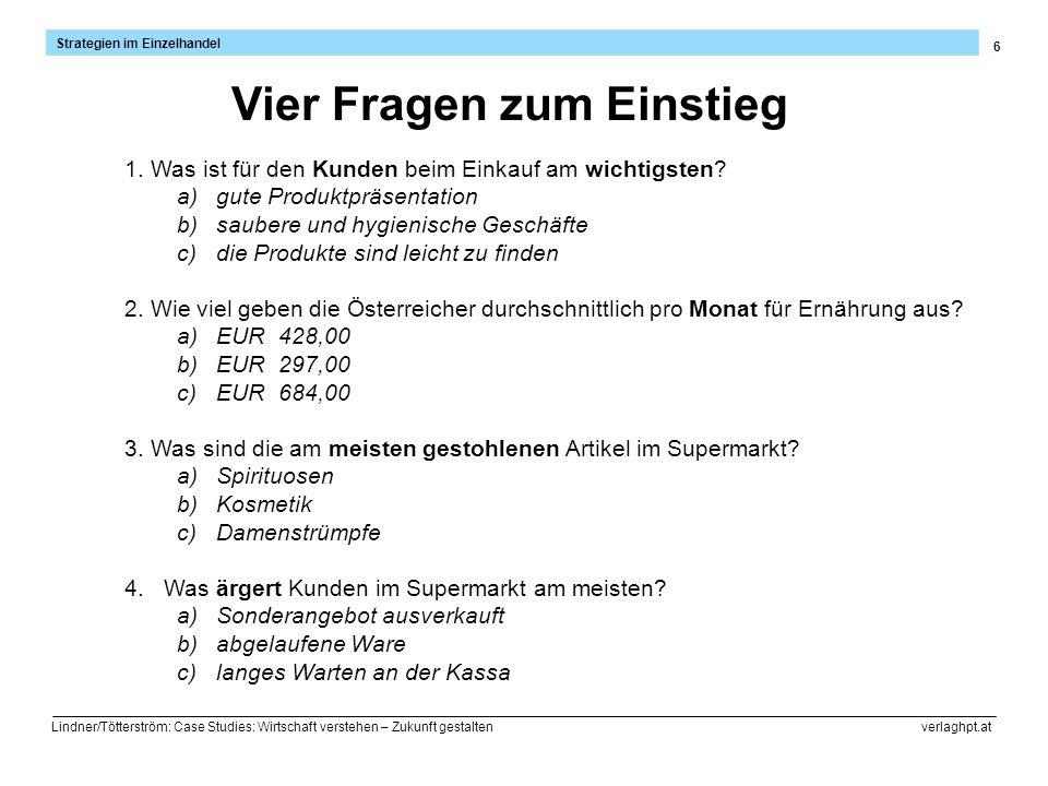 6 Strategien im Einzelhandel Lindner/Tötterström: Case Studies: Wirtschaft verstehen – Zukunft gestalten verlaghpt.at Vier Fragen zum Einstieg 1. Was