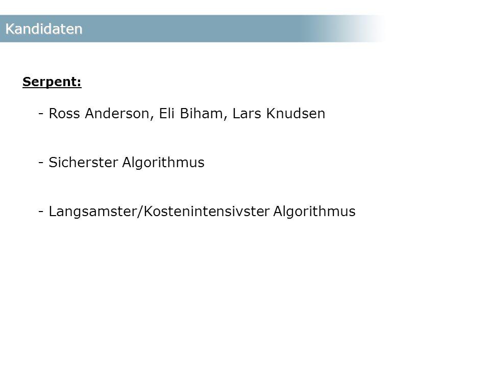 Kandidaten Serpent: - Ross Anderson, Eli Biham, Lars Knudsen - Sicherster Algorithmus - Langsamster/Kostenintensivster Algorithmus