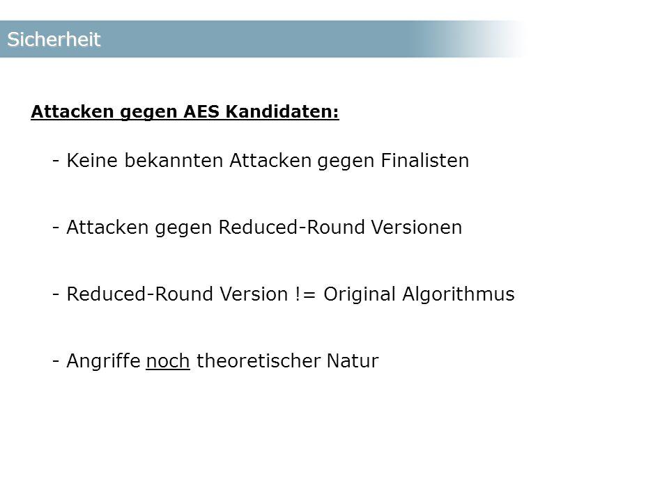 Sicherheit Attacken gegen AES Kandidaten: - Keine bekannten Attacken gegen Finalisten - Attacken gegen Reduced-Round Versionen - Reduced-Round Version != Original Algorithmus - Angriffe noch theoretischer Natur