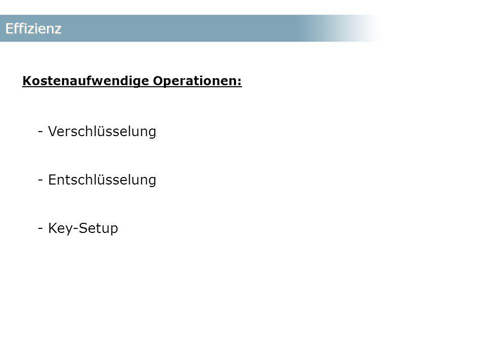 Effizienz Kostenaufwendige Operationen: - Verschlüsselung - Entschlüsselung - Key-Setup