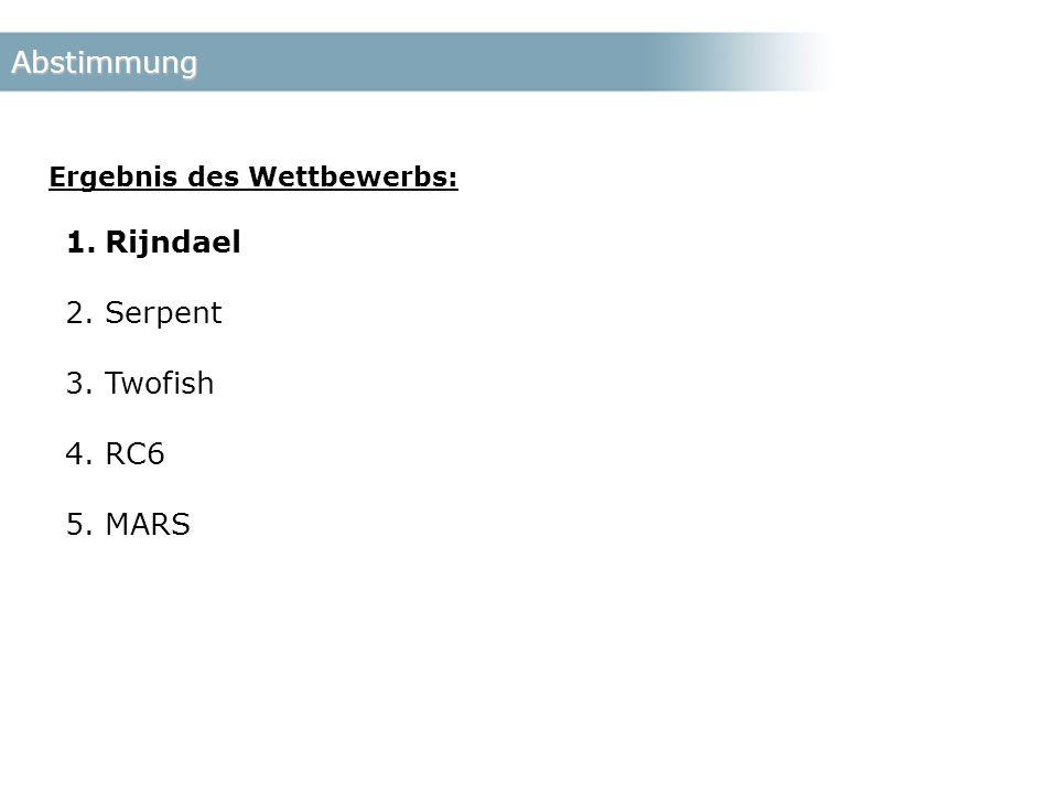 Abstimmung Ergebnis des Wettbewerbs: 1.Rijndael 2.Serpent 3.Twofish 4.RC6 5.MARS