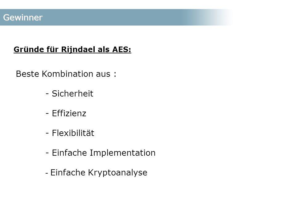 Gewinner Gründe für Rijndael als AES: Beste Kombination aus : - Sicherheit - Effizienz - Flexibilität - Einfache Implementation - Einfache Kryptoanalyse