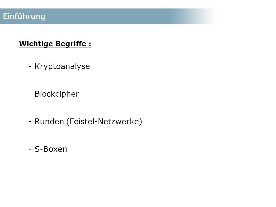 Einführung - Kryptoanalyse - Blockcipher - Runden (Feistel-Netzwerke) - S-Boxen Wichtige Begriffe :