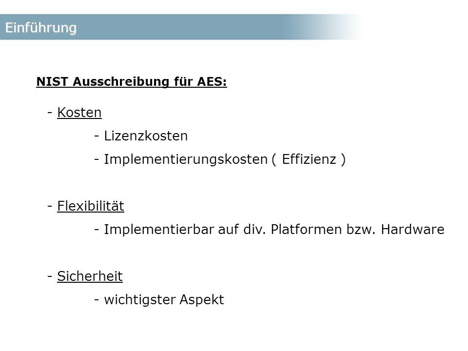 Einführung NIST Ausschreibung für AES: - Kosten - Lizenzkosten - Implementierungskosten ( Effizienz ) - Flexibilität - Implementierbar auf div.
