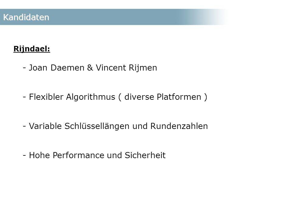 Kandidaten Rijndael: - Joan Daemen & Vincent Rijmen - Flexibler Algorithmus ( diverse Platformen ) - Variable Schlüssellängen und Rundenzahlen - Hohe Performance und Sicherheit