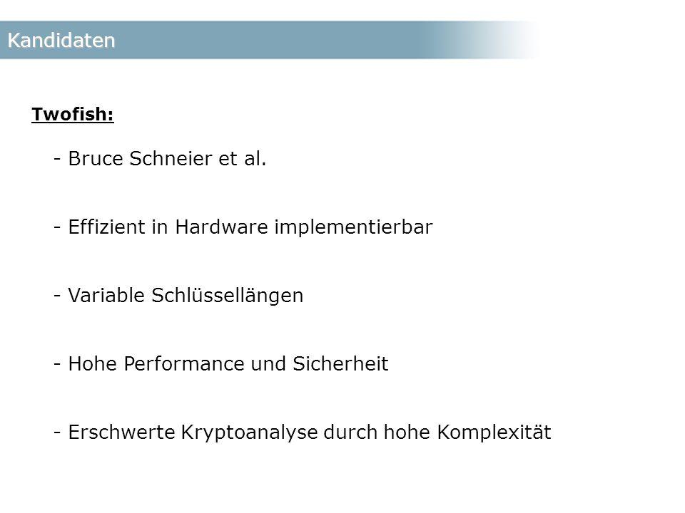 Kandidaten Twofish: - Bruce Schneier et al.