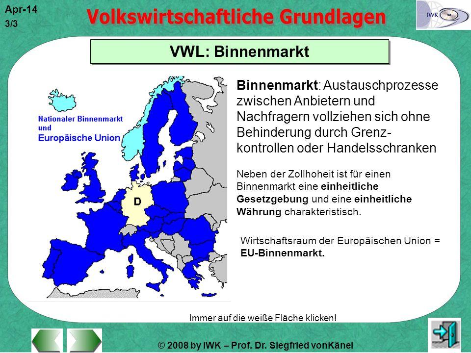 © 2008 by IWK – Prof. Dr. Siegfried vonKänel Apr-14 3/3 Immer auf die weiße Fläche klicken! VWL: Binnenmarkt Binnenmarkt: Austauschprozesse zwischen A