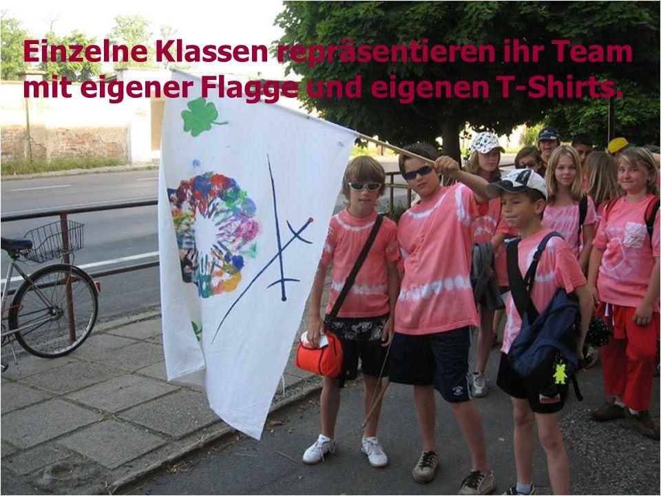 Einzelne Klassen repräsentieren ihr Team mit eigener Flagge und eigenen T-Shirts.