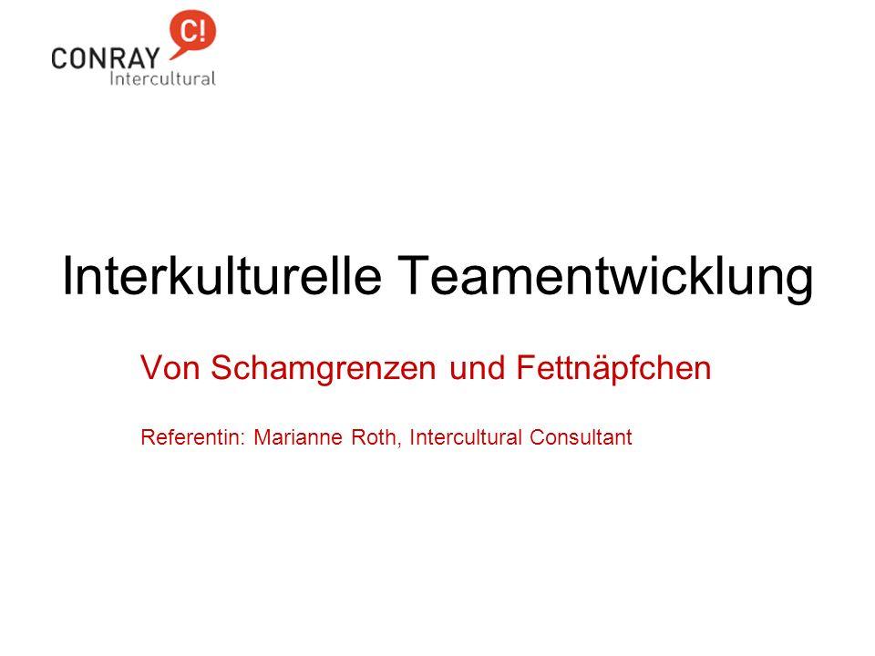 Interkulturelle Teamentwicklung Von Schamgrenzen und Fettnäpfchen Referentin: Marianne Roth, Intercultural Consultant