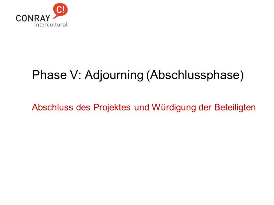 Phase V: Adjourning (Abschlussphase) Abschluss des Projektes und Würdigung der Beteiligten