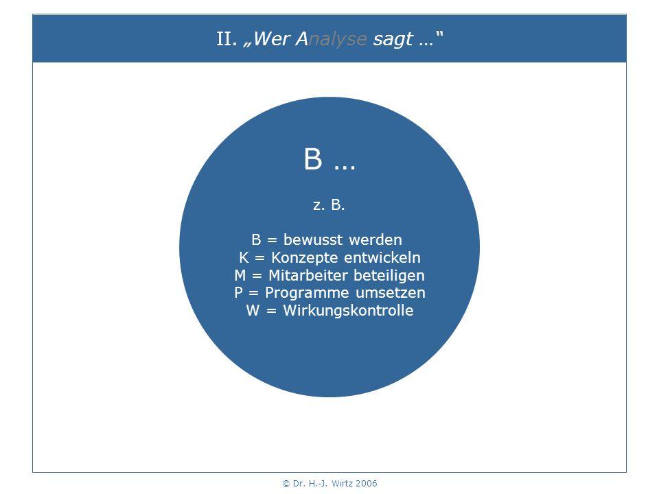 © Dr. H.-J. Wirtz 2006 II. Wer Analyse sagt … B … z.