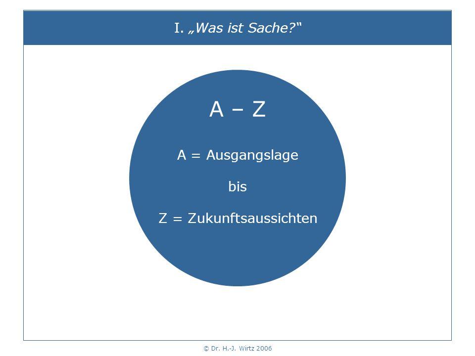 © Dr. H.-J. Wirtz 2006 I. Was ist Sache? A – Z A = Ausgangslage bis Z = Zukunftsaussichten