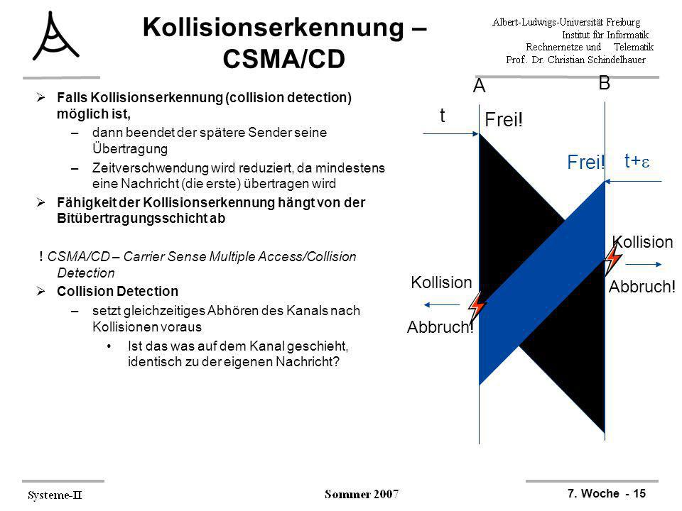 7. Woche - 15 Kollisionserkennung – CSMA/CD Falls Kollisionserkennung (collision detection) möglich ist, –dann beendet der spätere Sender seine Übertr