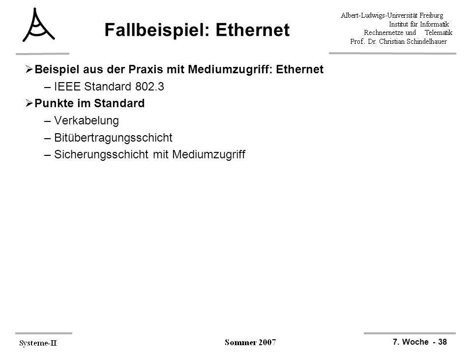 7. Woche - 38 Fallbeispiel: Ethernet Beispiel aus der Praxis mit Mediumzugriff: Ethernet –IEEE Standard 802.3 Punkte im Standard –Verkabelung –Bitüber