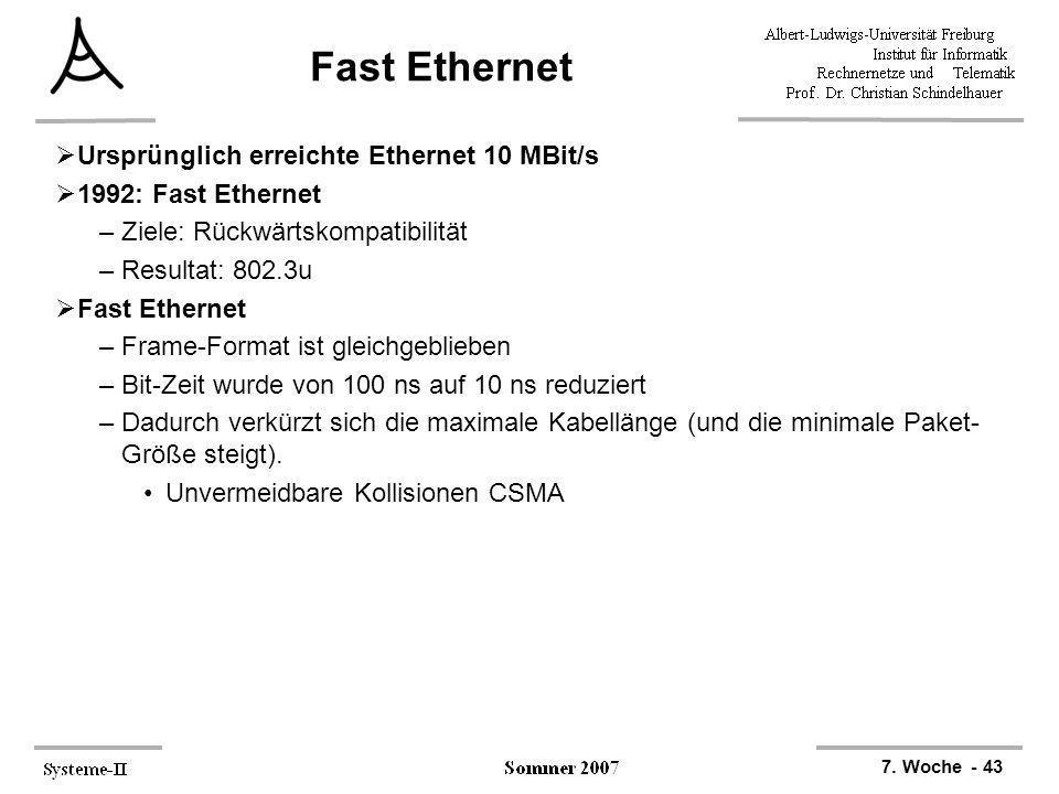 7. Woche - 43 Fast Ethernet Ursprünglich erreichte Ethernet 10 MBit/s 1992: Fast Ethernet –Ziele: Rückwärtskompatibilität –Resultat: 802.3u Fast Ether