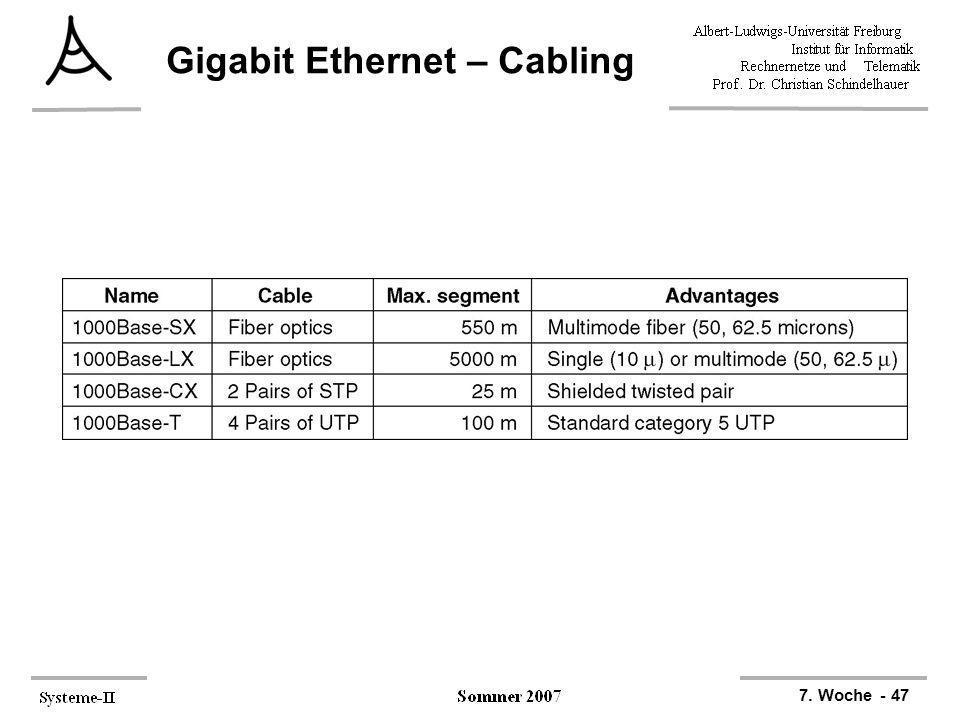 7. Woche - 47 Gigabit Ethernet – Cabling