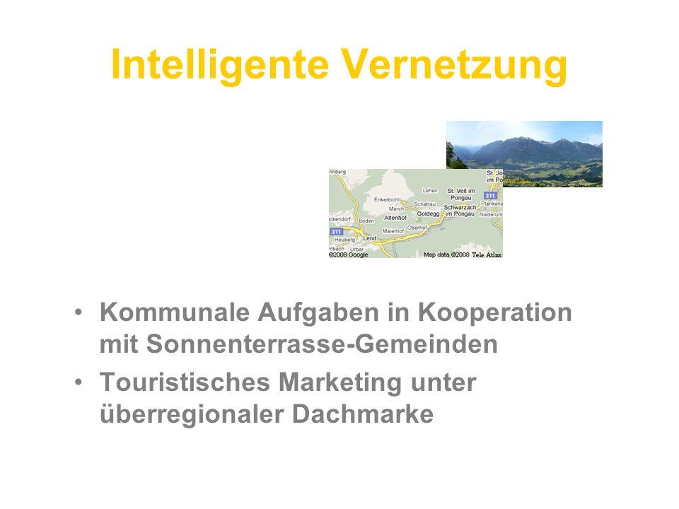 Intelligente Vernetzung Kommunale Aufgaben in Kooperation mit Sonnenterrasse-Gemeinden Touristisches Marketing unter überregionaler Dachmarke