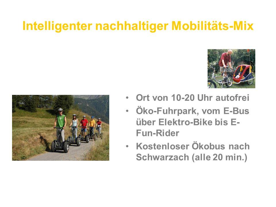 Intelligenter nachhaltiger Mobilitäts-Mix Ort von 10-20 Uhr autofrei Öko-Fuhrpark, vom E-Bus über Elektro-Bike bis E- Fun-Rider Kostenloser Ökobus nach Schwarzach (alle 20 min.)