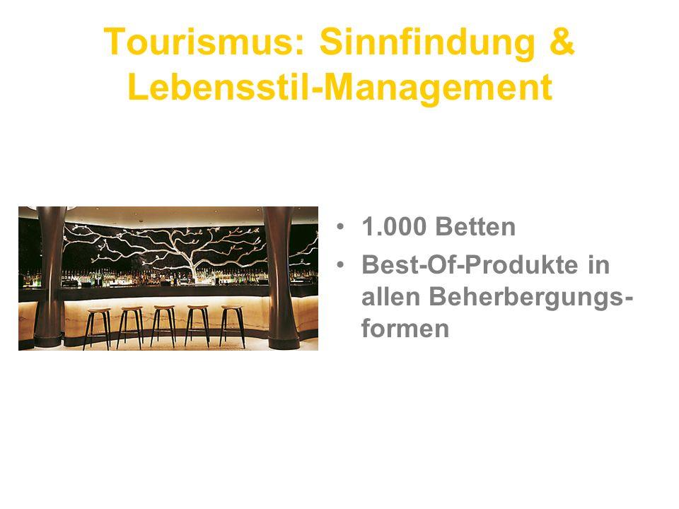 Tourismus: Sinnfindung & Lebensstil-Management 1.000 Betten Best-Of-Produkte in allen Beherbergungs- formen
