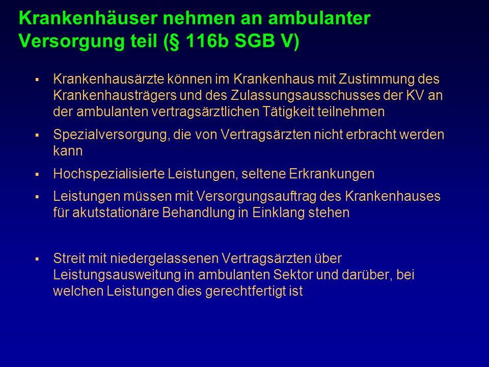 Krankenhäuser nehmen an ambulanter Versorgung teil (§ 116b SGB V) Krankenhausärzte können im Krankenhaus mit Zustimmung des Krankenhausträgers und des