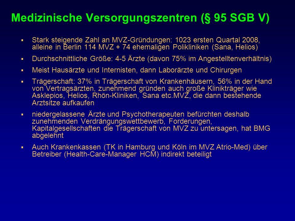 Medizinische Versorgungszentren (§ 95 SGB V) Stark steigende Zahl an MVZ-Gründungen: 1023 ersten Quartal 2008, alleine in Berlin 114 MVZ + 74 ehemalig