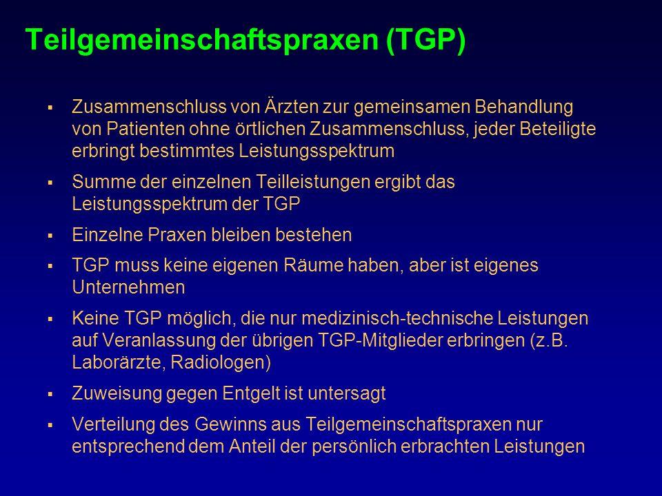 Teilgemeinschaftspraxen (TGP) Zusammenschluss von Ärzten zur gemeinsamen Behandlung von Patienten ohne örtlichen Zusammenschluss, jeder Beteiligte erb