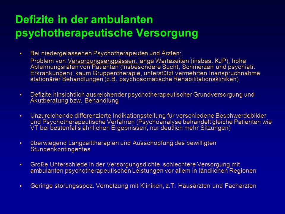 Defizite in der ambulanten psychotherapeutische Versorgung Bei niedergelassenen Psychotherapeuten und Ärzten: Problem von Versorgungsengpässen: lange