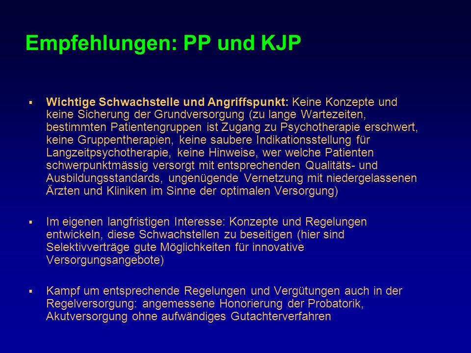 Empfehlungen: PP und KJP Wichtige Schwachstelle und Angriffspunkt: Keine Konzepte und keine Sicherung der Grundversorgung (zu lange Wartezeiten, besti