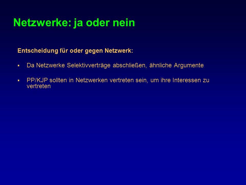 Netzwerke: ja oder nein Entscheidung für oder gegen Netzwerk: Da Netzwerke Selektivverträge abschließen, ähnliche Argumente PP/KJP sollten in Netzwerk
