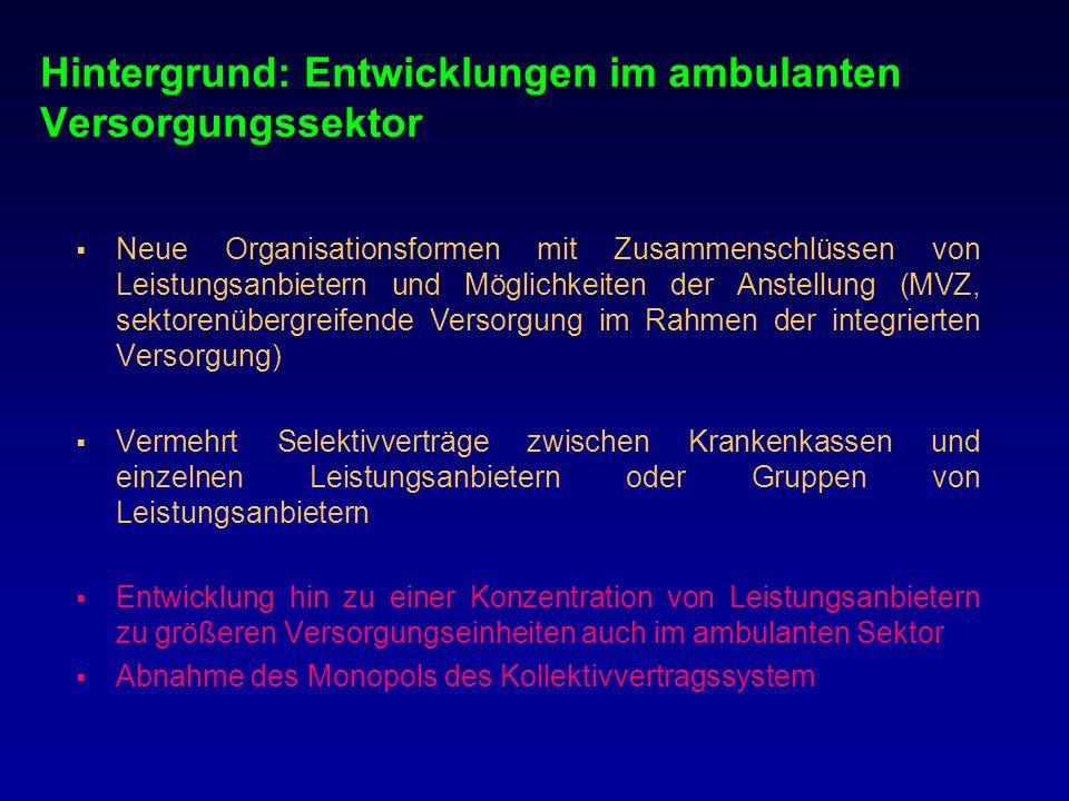 Hintergrund: Entwicklungen im ambulanten Versorgungssektor Neue Organisationsformen mit Zusammenschlüssen von Leistungsanbietern und Möglichkeiten der
