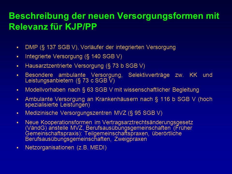 Beschreibung der neuen Versorgungsformen mit Relevanz für KJP/PP DMP (§ 137 SGB V), Vorläufer der integrierten Versorgung Integrierte Versorgung (§ 14