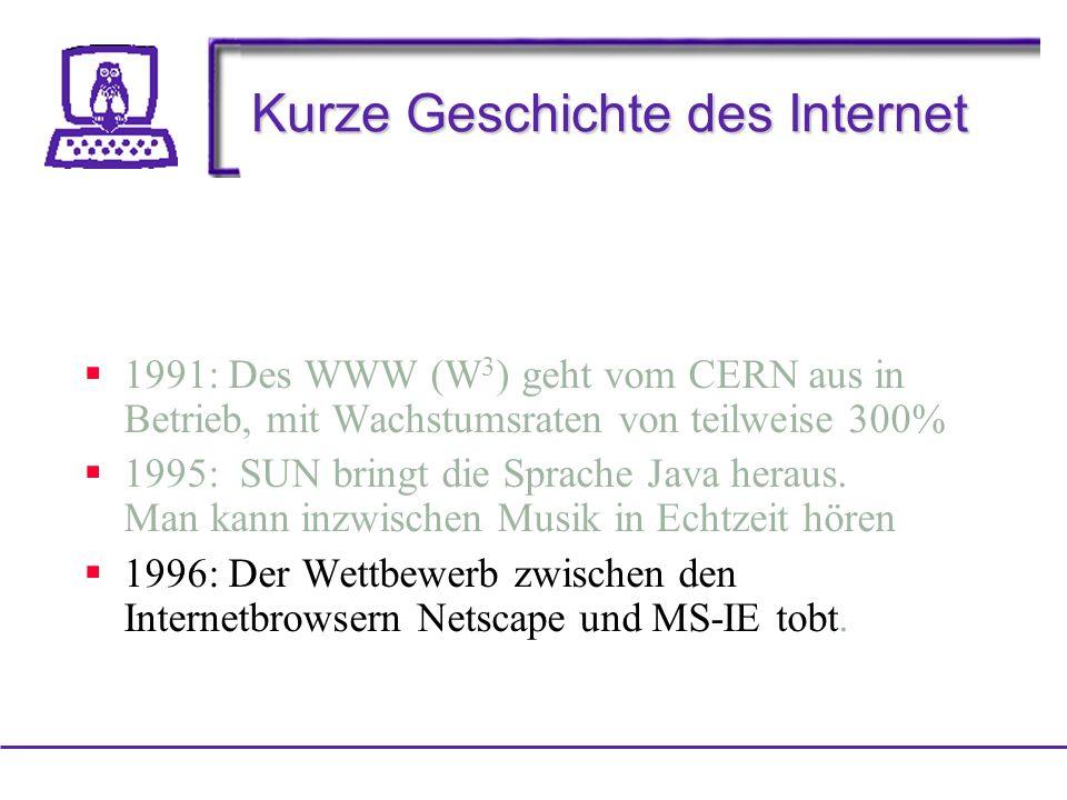 Kurze Geschichte des Internet 1991: Des WWW (W 3 ) geht vom CERN aus in Betrieb, mit Wachstumsraten von teilweise 300% 1995: SUN bringt die Sprache Java heraus.