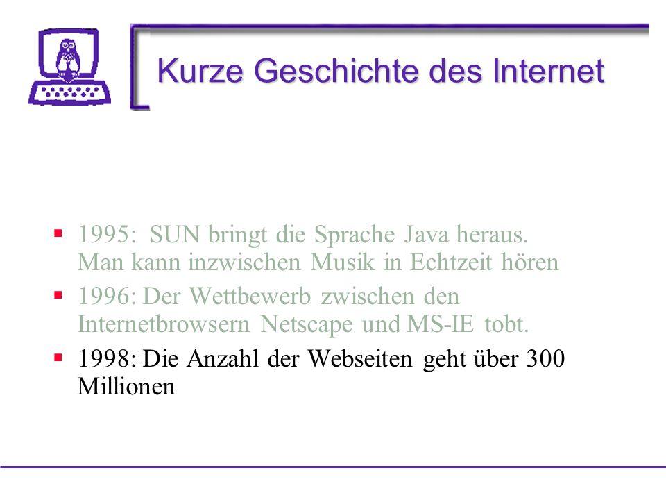 Kurze Geschichte des Internet 1995: SUN bringt die Sprache Java heraus.