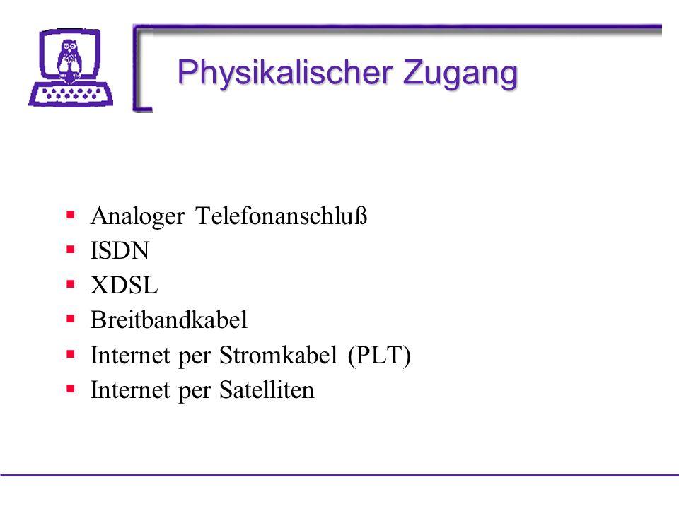 Physikalischer Zugang Analoger Telefonanschluß ISDN XDSL Breitbandkabel Internet per Stromkabel (PLT) Internet per Satelliten