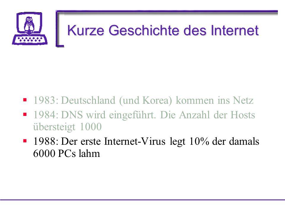 Kurze Geschichte des Internet 1983: Deutschland (und Korea) kommen ins Netz 1984: DNS wird eingeführt.