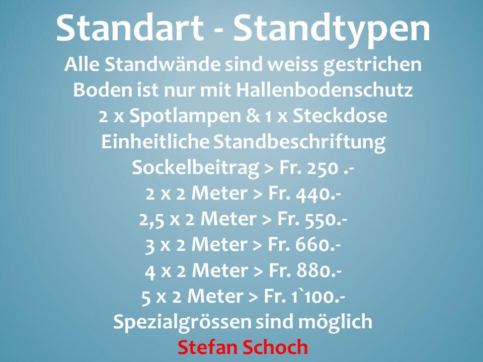Standart - Standtypen Alle Standwände sind weiss gestrichen Boden ist nur mit Hallenbodenschutz 2 x Spotlampen & 1 x Steckdose Einheitliche Standbesch