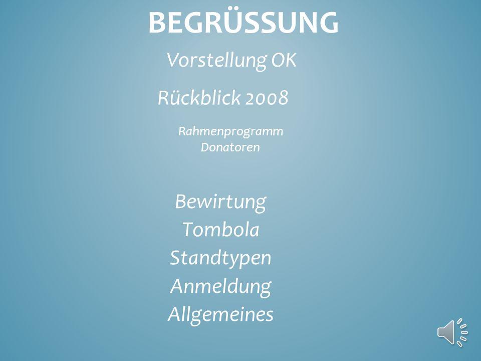 BEGRÜSSUNG Vorstellung OK Rückblick 2008 Rahmenprogramm Donatoren Bewirtung Tombola Standtypen Anmeldung Allgemeines